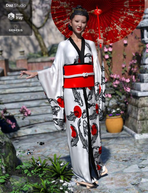dForce Kimono Outfit for Genesis 8 Female(s)