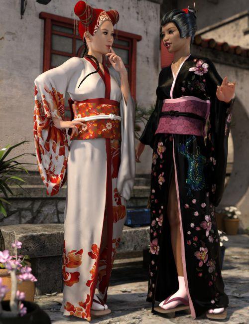dForce Kimono Outfit Female Textures
