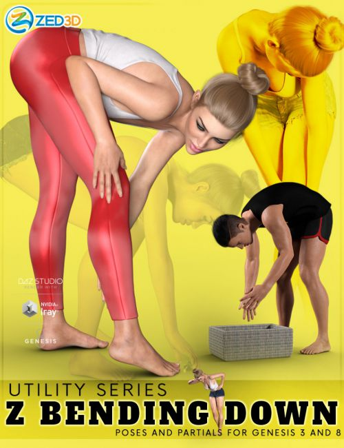 Z Utility Bending Down Poses and Partials for Genesis 3 and 8