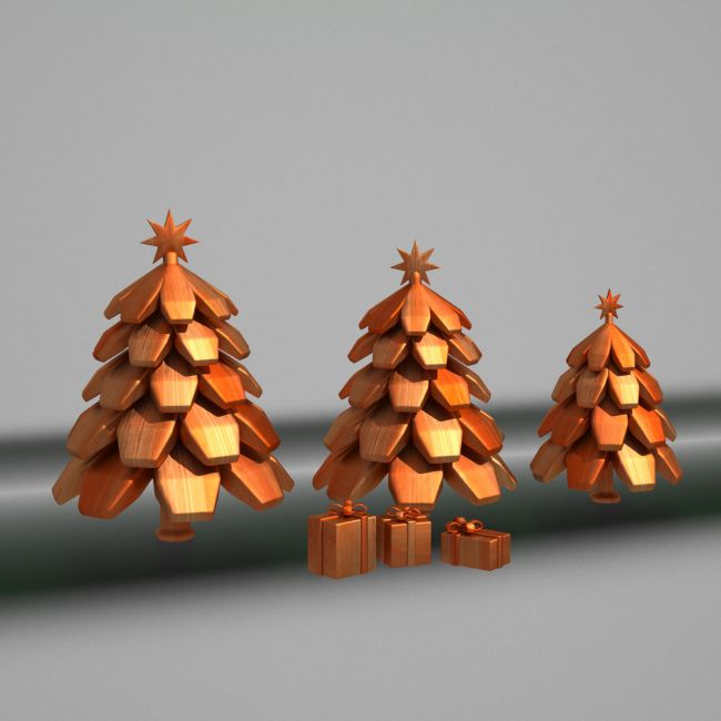 Wooden Toy Christmas Trees