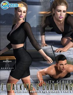 Z Utility Walking and Crawling Poses for Genesis 3 and 8