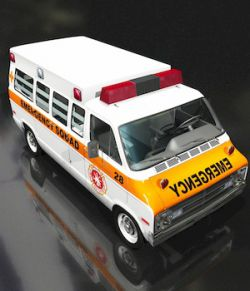 DODGE VAN AMBULANCE OBJ FBX EXTENDED LICENSE