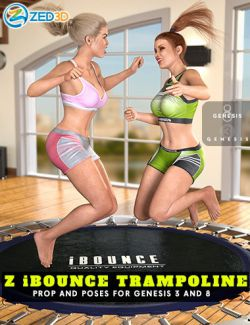 Z iBounce Trampoline Prop and Poses for Genesis 3 and 8