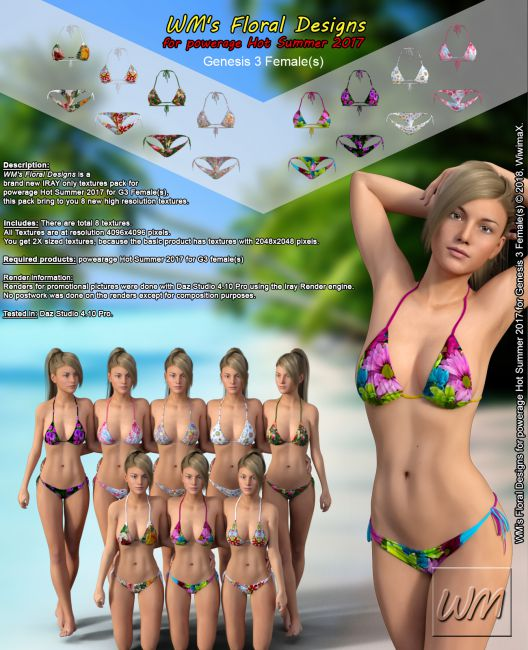 WM's Floral Designs for powerage Hot Summer 2017 for Genesis 3 Females