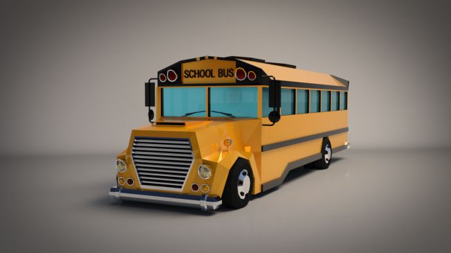 Low-Poly Cartoon School Bus - Extended License