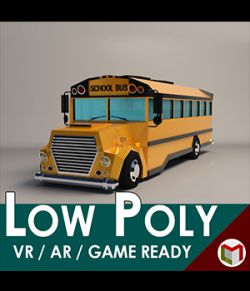 Low-Poly Cartoon School Bus- Extended License