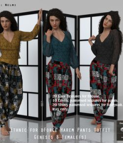 Ethnic for dForce Harem Pants Outfit for Genesis 8 Females