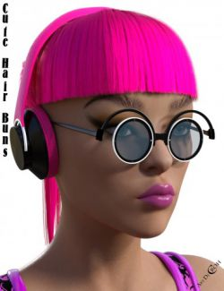 Cute Hair Buns with Glasses & Headphones for Genesis 8 Female(s)