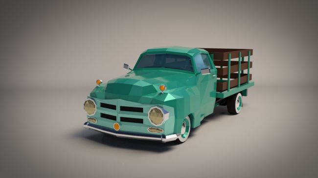 Low-Poly Cartoon Vintage Pickup - Extended License