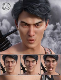 Faces of a Ninja- Expressions for Genesis 8 Male and Lee 8