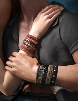 Leather Bracelets for Genesis 8 Male(s) & Female(s)