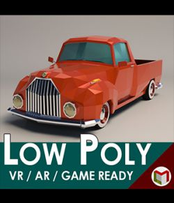 Low-Poly Cartoon Vintage Pickup- Extended License