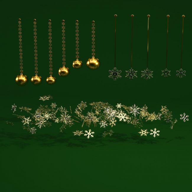 Gold Christmas Elements - OBJ