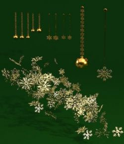Gold Christmas Elements - OBJ