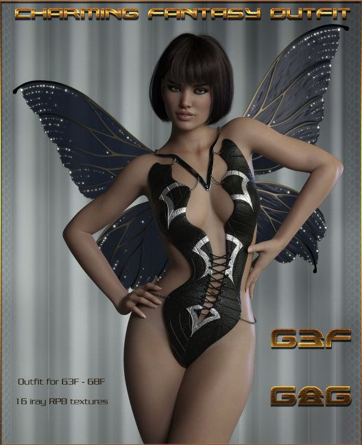 Charming Fantasy Outfit for Genesis 3 & 8 Female