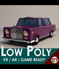 Low-Poly Cartoon Limousine Car- Extended License