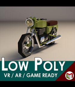 Low-Poly Cartoon Motorcycle- Extended License