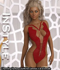 InStyle- Charming Fantasy Outfit for Genesis 3 & 8 Female