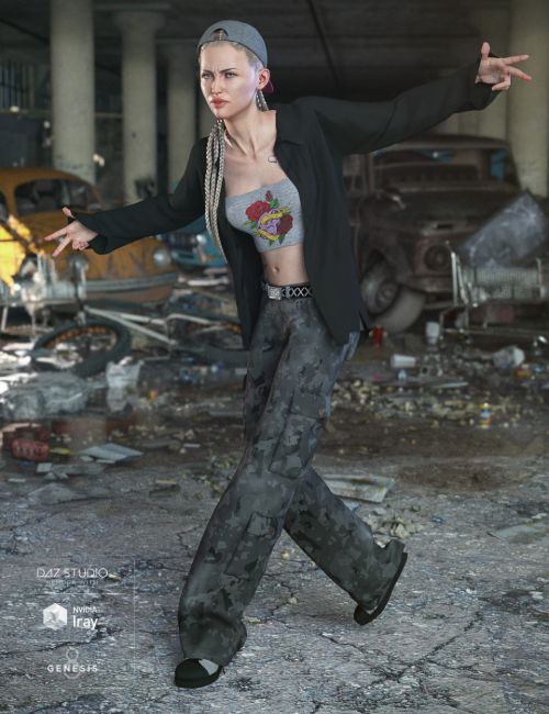 dForce Hip Hop Street Style Outfit for Genesis 8 Female(s)