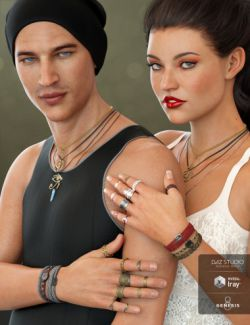 Unisex Jewelry for Genesis 8 Male(s) & Female(s)