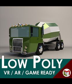 Low-Poly Cartoon Concrete Mixer Truck- Extended License