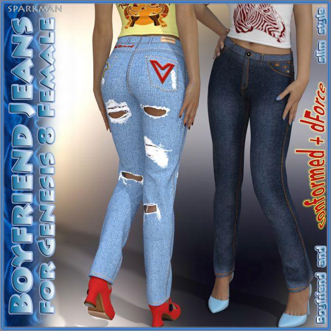dForce Boyfriend Jeans for Genesis 8 Female