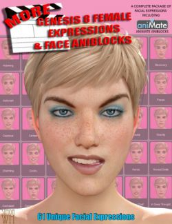 More Genesis 8 Female(s) Expressions & Face aniBlocks
