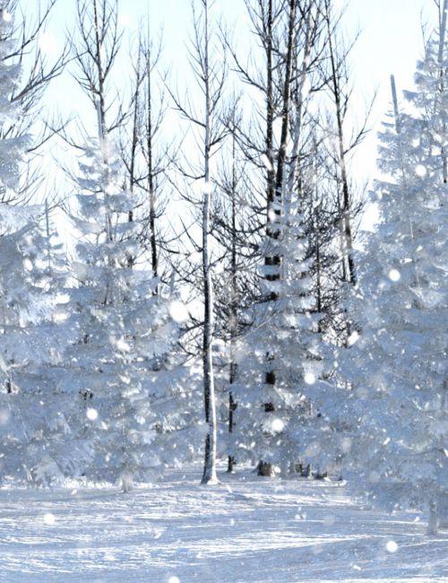 Winter Pine Forest Prop Set