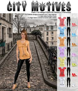 WMs City Motives Pack 1 for Abigail Outfit for Genesis 3 Females