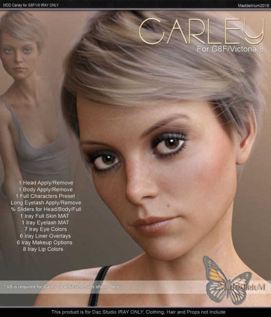 MDD Carley for G8F/V8 IRAY ONLY | Characters for Poser and