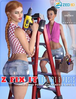 Z Fix It Tool Kit and Poses for Genesis 3 and 8