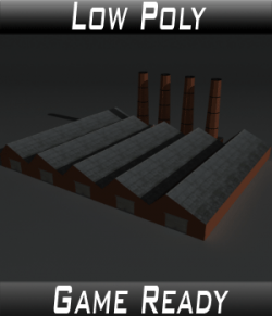 Low Poly Factory Building 14 - Extended Licence