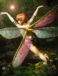 Natural Fae Wings for Genesis 8