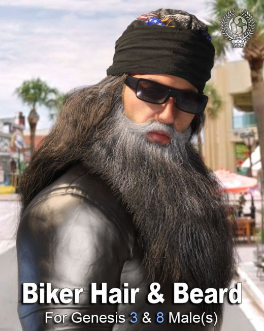 Biker Hair and Beard For Genesis 3 and 8 Male(s)