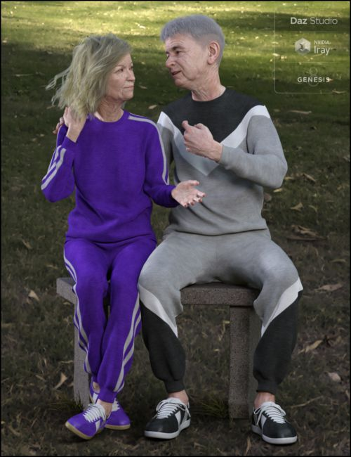 dForce Retro Sweatsuit for Genesis 8 Female(s) and Male(s)