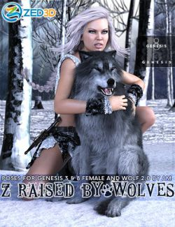 Z Raised By Wolves Poses for Genesis 3 and 8 Female and Wolf 2.0