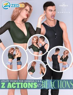 Z Actions and Reactions Poses and Bonus Expressions for Genesis 3 and 8