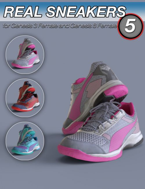 S3D Real Sneakers 5 for Genesis 3 and 8 Female(s)