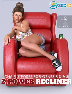 Z Power Recliner and Poses for Genesis 3 and 8