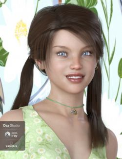 Melody Pigtail Hair for Genesis 3 and 8 Female(s)