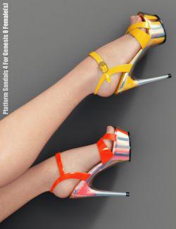 Platform Sandals 4 For Genesis 8 Female(s)