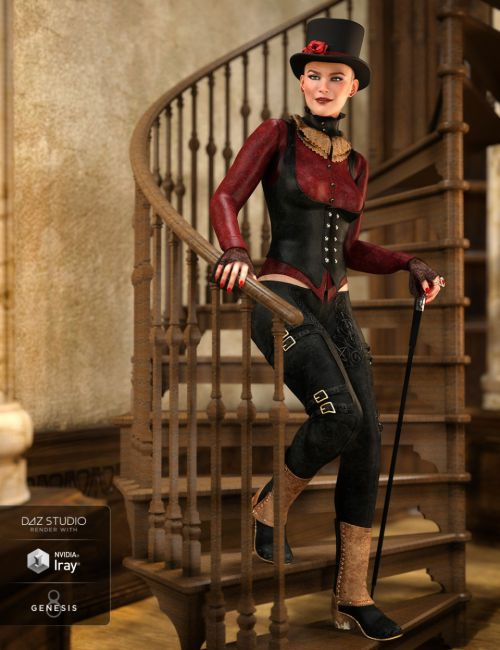dForce Burgundy Creed Outfit for Genesis 8 Female(s)