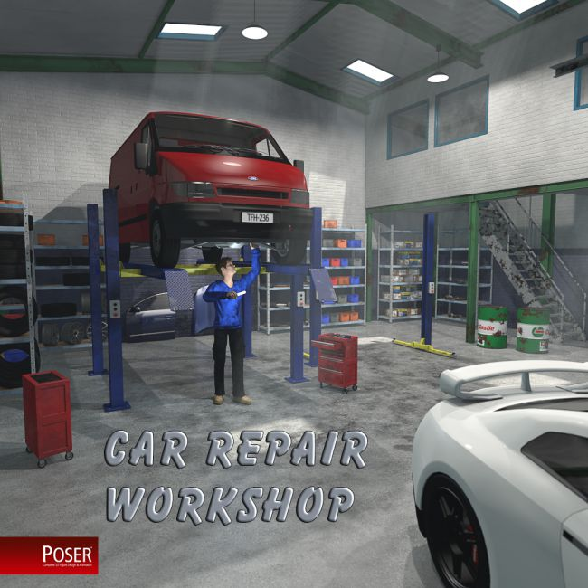 Car repair workshop for Poser