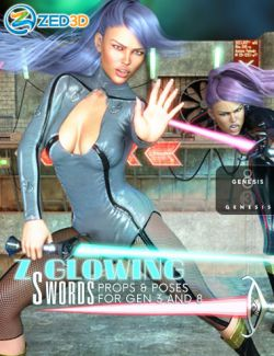 Z Glowing Swords and Poses for Genesis 3 and 8