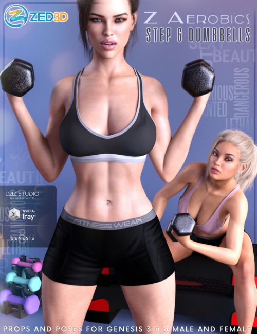 Z Aerobics Step & Dumbbells Props and Poses for Genesis 3 and 8