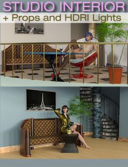 S3D Staircase Studio Interior Sets, Props and HDRI Lights