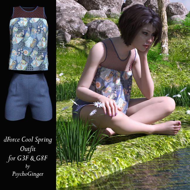 dForce Cool Spring Outfit for G3F & G8F