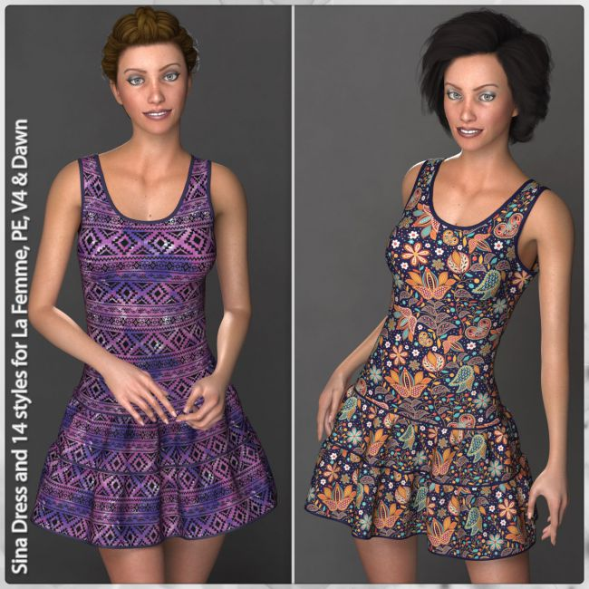 Sina Dress and 14 Styles for La Femme, V4, PE and Dawn