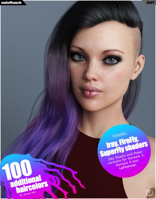 Xenya Hair Texture XPansion for Genesis 3 and 8 and LaFemme