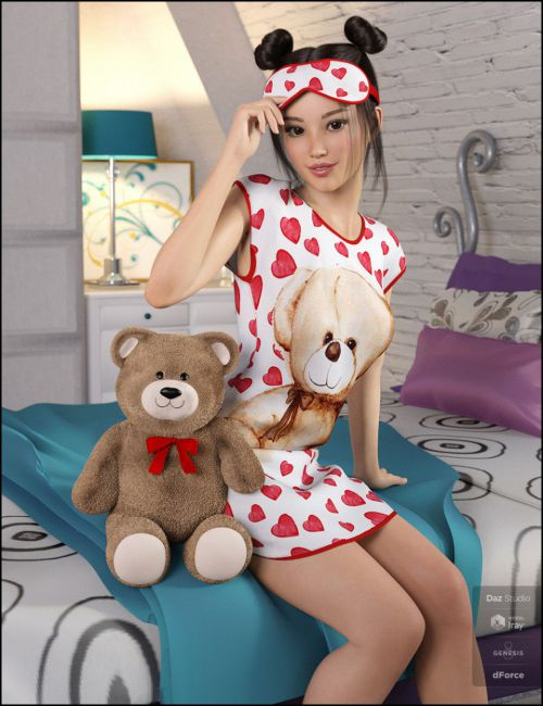 dForce Snuggle Up PJs and Accessories for Genesis 8 Female(s)